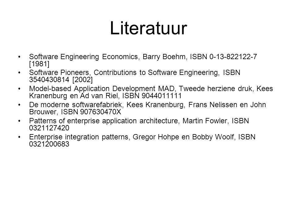 Literatuur Software Engineering Economics, Barry Boehm, ISBN 0-13-822122-7 [1981] Software Pioneers, Contributions to Software Engineering, ISBN 35404