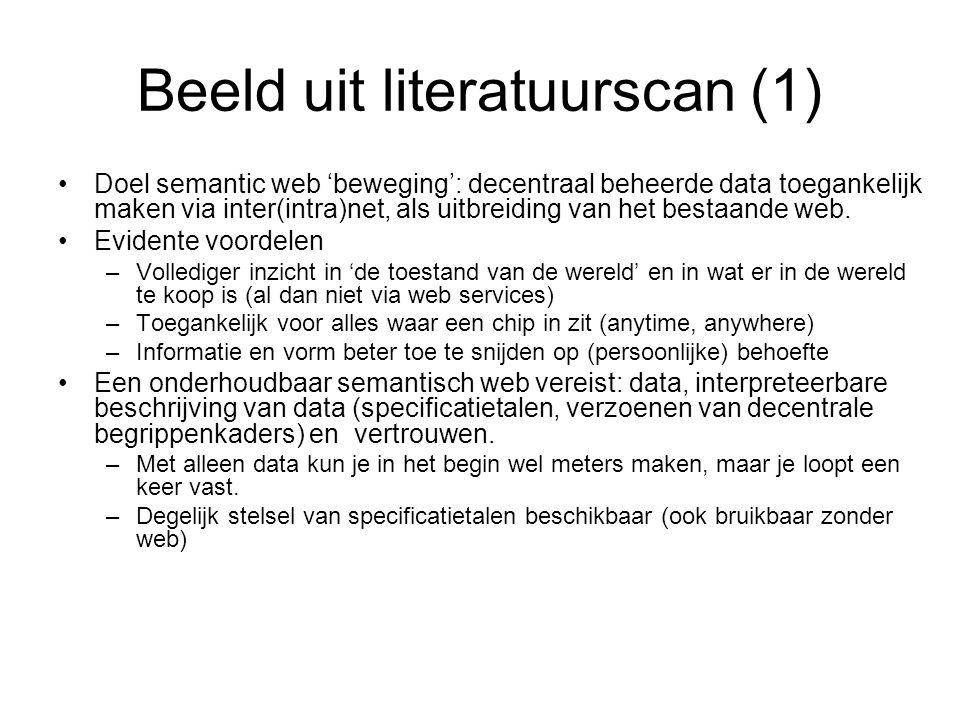 Beeld uit literatuurscan (1) Doel semantic web 'beweging': decentraal beheerde data toegankelijk maken via inter(intra)net, als uitbreiding van het be