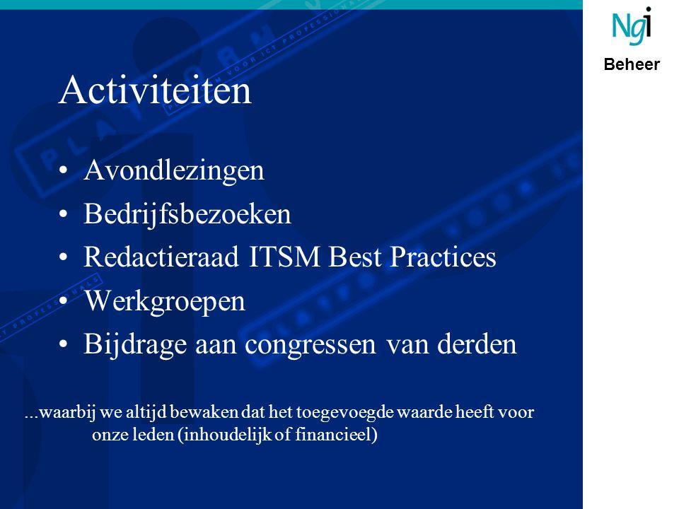 Beheer Activiteiten Avondlezingen Bedrijfsbezoeken Redactieraad ITSM Best Practices Werkgroepen Bijdrage aan congressen van derden...waarbij we altijd bewaken dat het toegevoegde waarde heeft voor onze leden (inhoudelijk of financieel)
