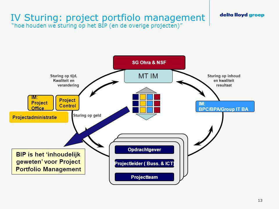 """13 IV Sturing: project portfiolo management """"hoe houden we sturing op het BIP (en de overige projecten)"""" Sturing op tijd, Kwaliteit en verandering Stu"""