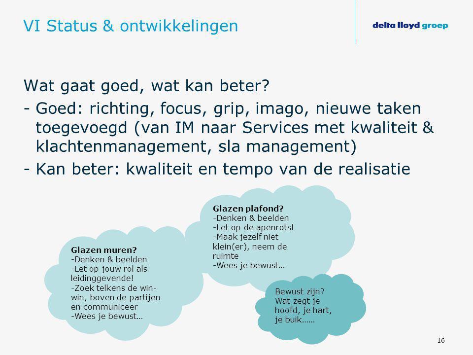 16 VI Status & ontwikkelingen Wat gaat goed, wat kan beter? -Goed: richting, focus, grip, imago, nieuwe taken toegevoegd (van IM naar Services met kwa