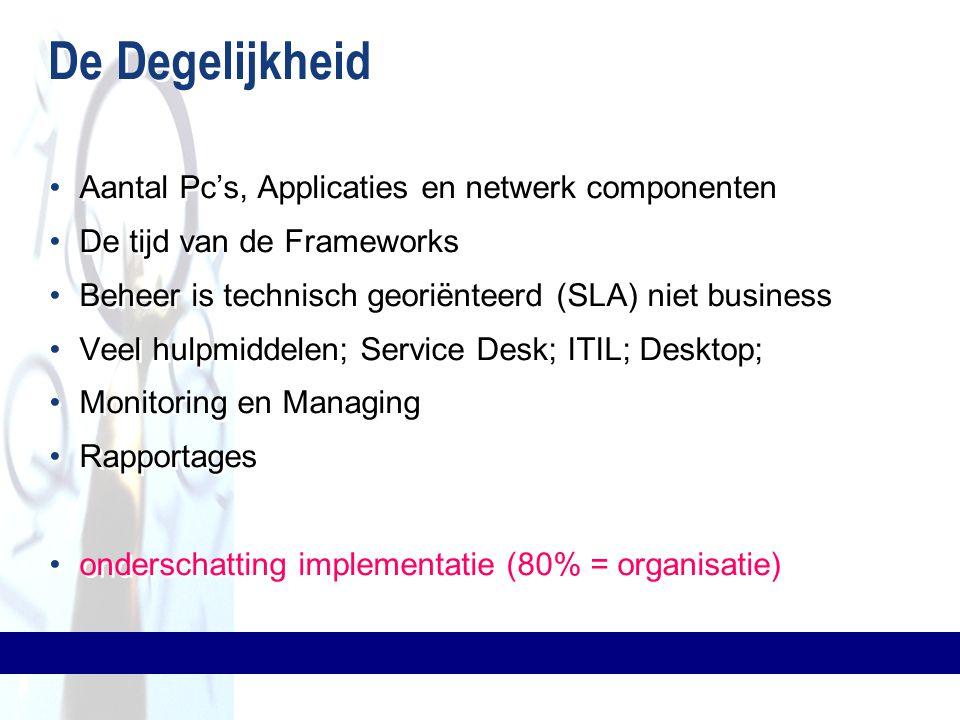 De Degelijkheid Aantal Pc's, Applicaties en netwerk componenten De tijd van de Frameworks Beheer is technisch georiënteerd (SLA) niet business Veel hu