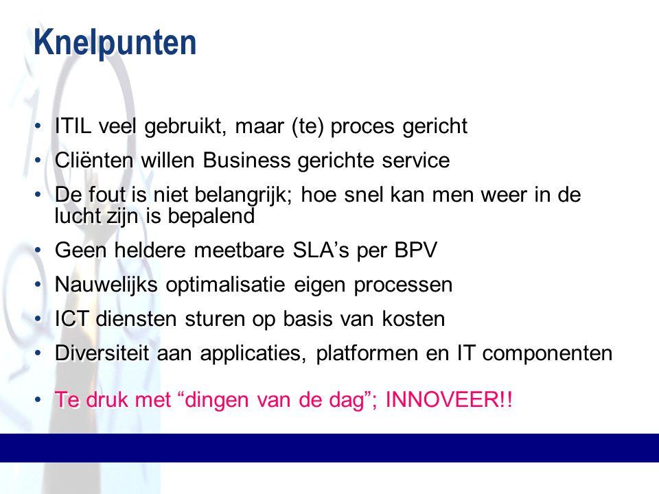 Knelpunten ITIL veel gebruikt, maar (te) proces gericht Cliënten willen Business gerichte service De fout is niet belangrijk; hoe snel kan men weer in