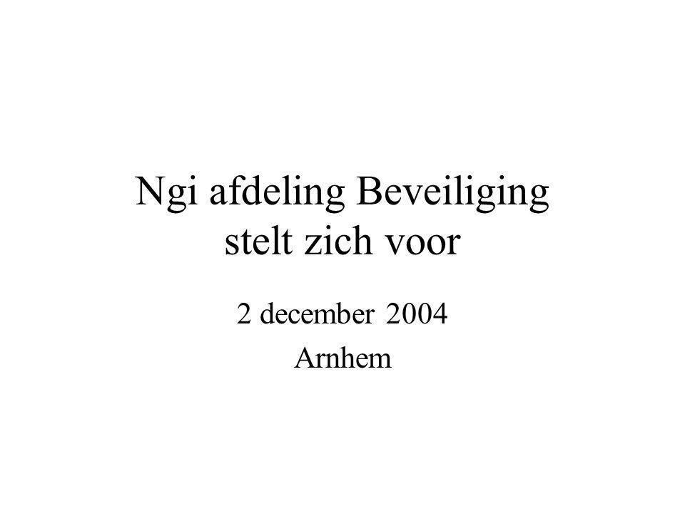 Ngi afdeling Beveiliging stelt zich voor 2 december 2004 Arnhem