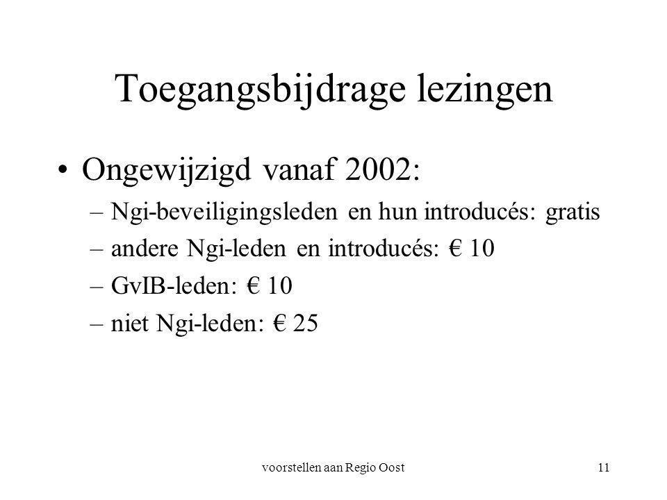 voorstellen aan Regio Oost11 Toegangsbijdrage lezingen Ongewijzigd vanaf 2002: –Ngi-beveiligingsleden en hun introducés: gratis –andere Ngi-leden en introducés: € 10 –GvIB-leden: € 10 –niet Ngi-leden: € 25