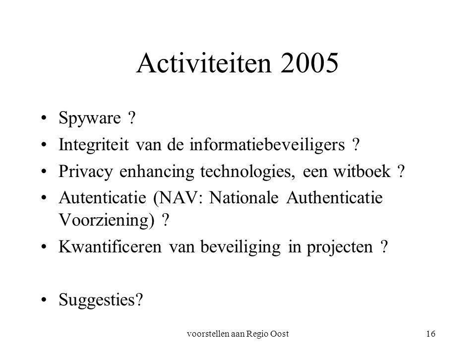 voorstellen aan Regio Oost16 Activiteiten 2005 Spyware ? Integriteit van de informatiebeveiligers ? Privacy enhancing technologies, een witboek ? Aute