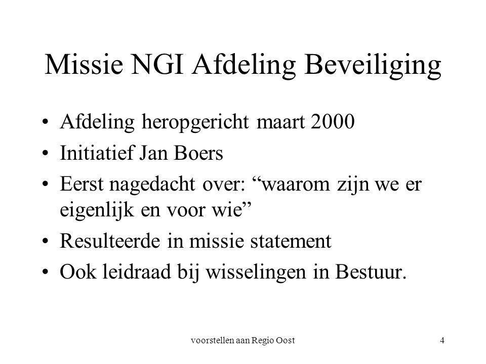 voorstellen aan Regio Oost4 Missie NGI Afdeling Beveiliging Afdeling heropgericht maart 2000 Initiatief Jan Boers Eerst nagedacht over: waarom zijn we er eigenlijk en voor wie Resulteerde in missie statement Ook leidraad bij wisselingen in Bestuur.