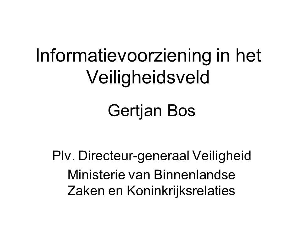 Informatievoorziening in het Veiligheidsveld Gertjan Bos Plv.