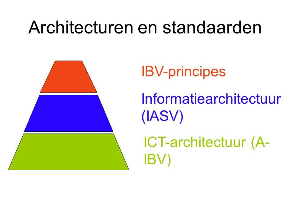 Architecturen en standaarden IBV-principes Informatiearchitectuur (IASV) ICT-architectuur (A- IBV)