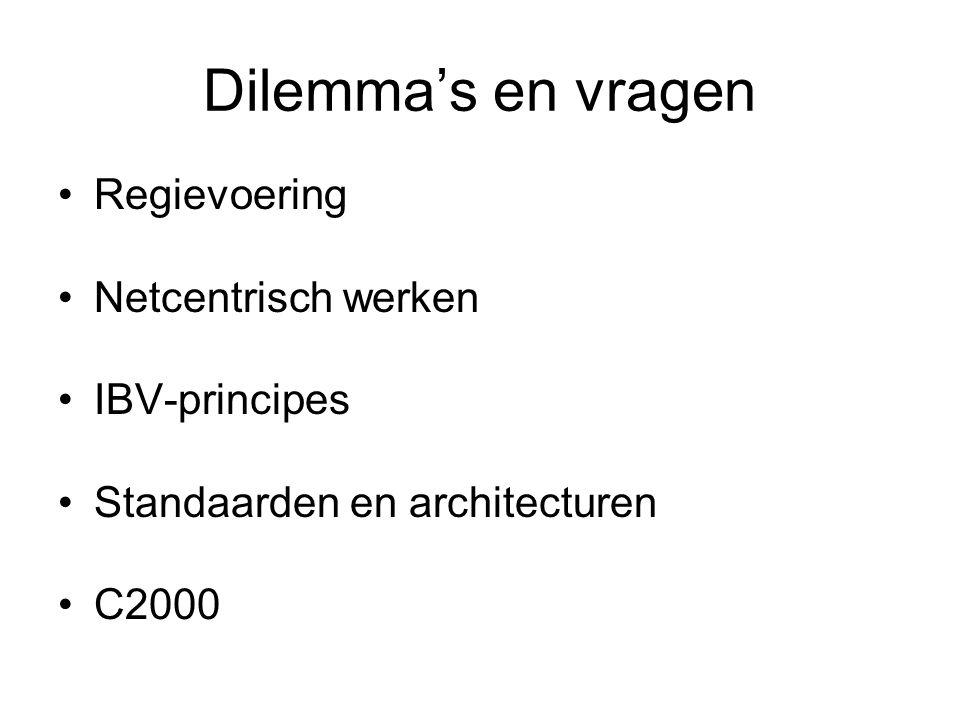 Dilemma's en vragen Regievoering Netcentrisch werken IBV-principes Standaarden en architecturen C2000