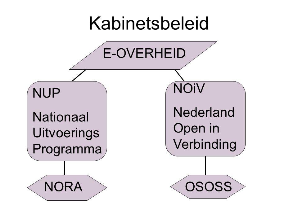 Kabinetsbeleid E-OVERHEID NUP Nationaal Uitvoerings Programma NOiV Nederland Open in Verbinding NORAOSOSS