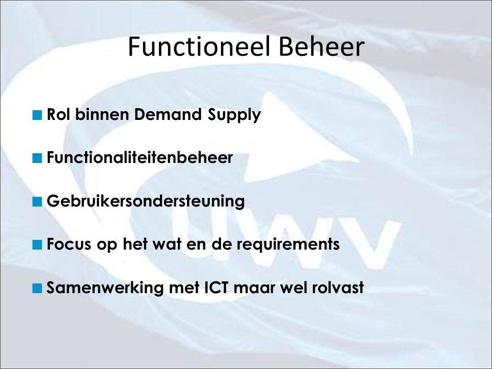 Functioneel Beheer Rol binnen Demand Supply Functionaliteitenbeheer Gebruikersondersteuning Focus op het wat en de requirements Samenwerking met ICT m