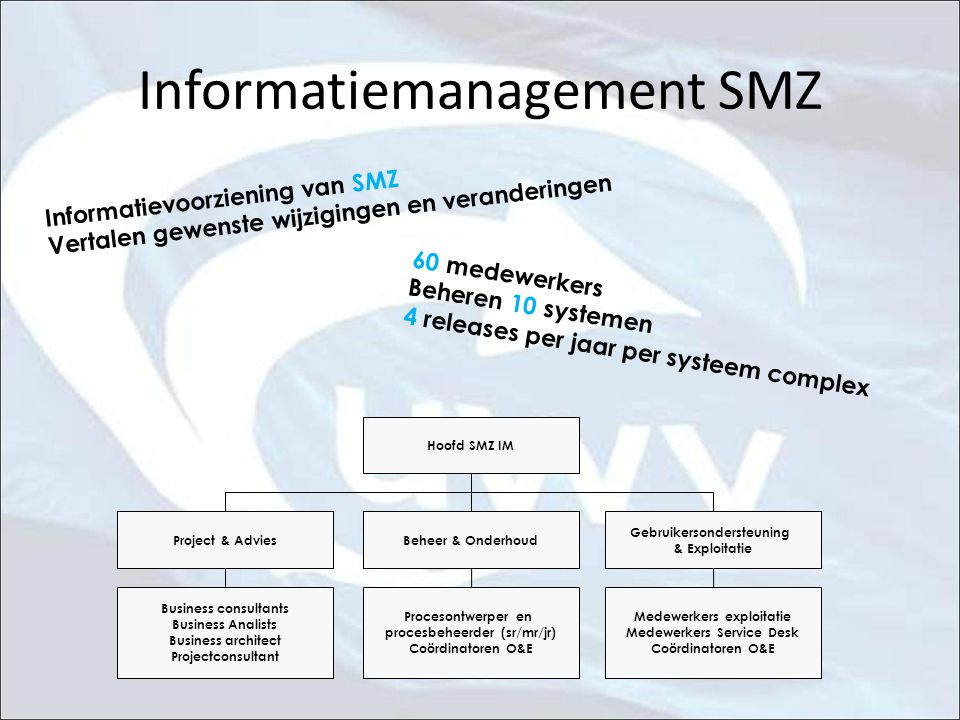 Informatiemanagement SMZ Business consultants Business Analists Business architect Projectconsultant Procesontwerper en procesbeheerder (sr/mr/jr) Coö