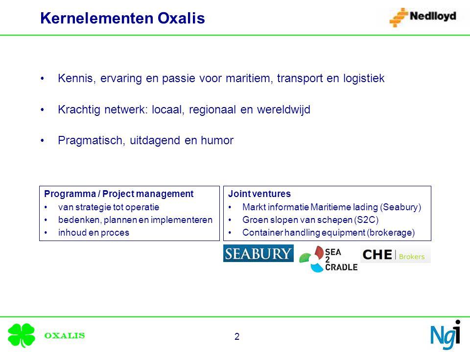 Oxalis 2 Kernelementen Oxalis Kennis, ervaring en passie voor maritiem, transport en logistiek Krachtig netwerk: locaal, regionaal en wereldwijd Pragmatisch, uitdagend en humor Programma / Project management van strategie tot operatie bedenken, plannen en implementeren inhoud en proces Joint ventures Markt informatie Maritieme lading (Seabury) Groen slopen van schepen (S2C) Container handling equipment (brokerage)