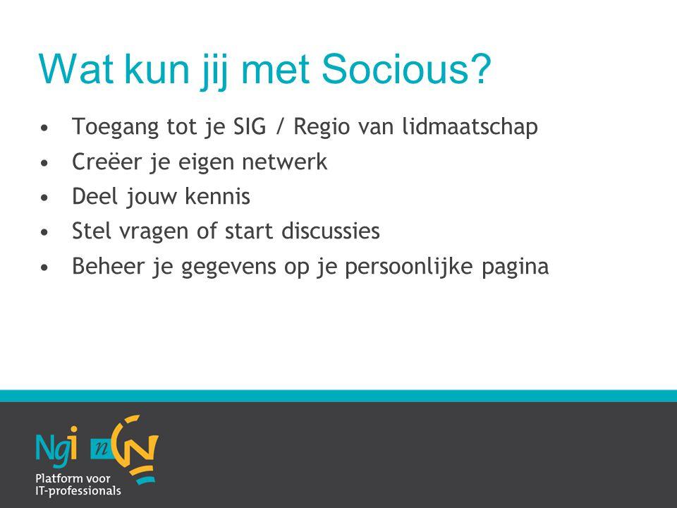 Wat kun jij met Socious.