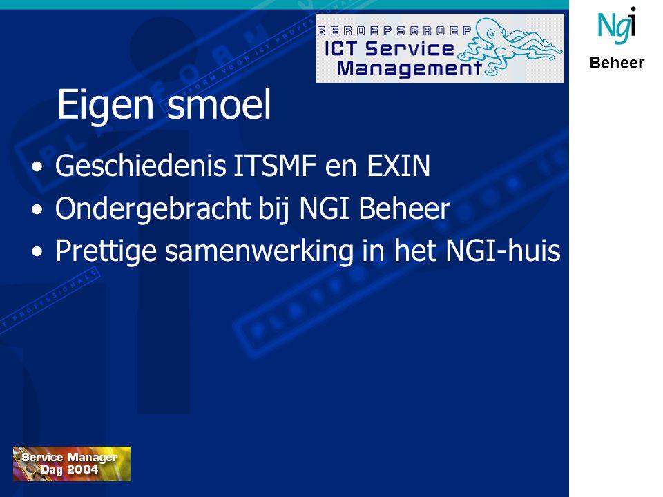 Beheer Eigen smoel Geschiedenis ITSMF en EXIN Ondergebracht bij NGI Beheer Prettige samenwerking in het NGI-huis