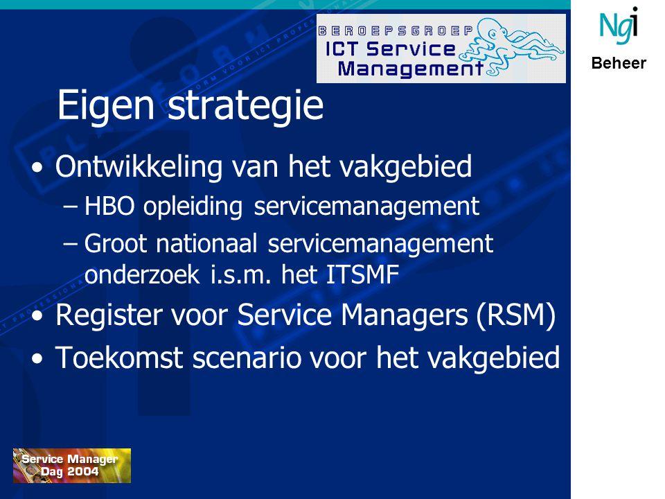 Beheer Eigen strategie Ontwikkeling van het vakgebied –HBO opleiding servicemanagement –Groot nationaal servicemanagement onderzoek i.s.m.