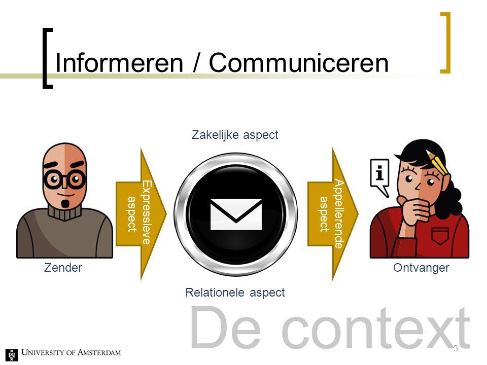 Informeren / Communiceren Zender Ontvanger Expressieve aspect Appellerende aspect Zakelijke aspect Relationele aspect 3 De context