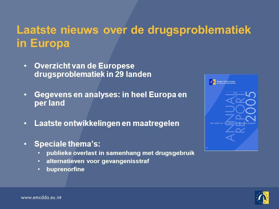 Een meertalig overzichtspakket Jaarverslag 2005: In gedrukte en elektronische vorm, in 22 talen http://annualreport.emcdda.eu.inthttp://annualreport.emcdda.eu.int Aanvullend onlinemateriaal in het Engels: Selected issues (Speciale thema's) http://issues05.emcdda.eu.inthttp://issues05.emcdda.eu.int Statistical bulletin (Statistisch bulletin) http://stats05.emcdda.eu.inthttp://stats05.emcdda.eu.int Reitox national reports (Nationale Reitox-verslagen) http://www.emcdda.eu.int/?nnodeid=435 http://www.emcdda.eu.int/?nnodeid=435
