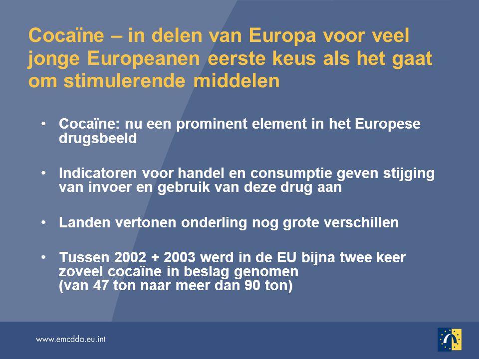 Zo'n 9 miljoen Europeanen hebben wel eens cocaïne gebruikt (3% van alle volwassenen) Afgelopen jaar hebben waarschijnlijk 3 à 3,5 miljoen mensen met de drug geëxperimenteerd (1% van alle volwassenen) Rond 1,5 miljoen mensen staan te boek als actuele gebruiker (vorige maand) (0,5% van alle volwassenen) Tussen 1% en 11,6% van alle jongvolwassenen (vooral jonge mannen in stedelijke gebieden) heeft cocaïne geprobeerd Cocaïne: feiten en cijfers