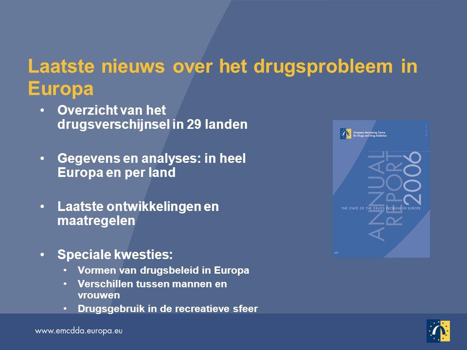 Laatste nieuws over het drugsprobleem in Europa Overzicht van het drugsverschijnsel in 29 landen Gegevens en analyses: in heel Europa en per land Laatste ontwikkelingen en maatregelen Speciale kwesties: Vormen van drugsbeleid in Europa Verschillen tussen mannen en vrouwen Drugsgebruik in de recreatieve sfeer