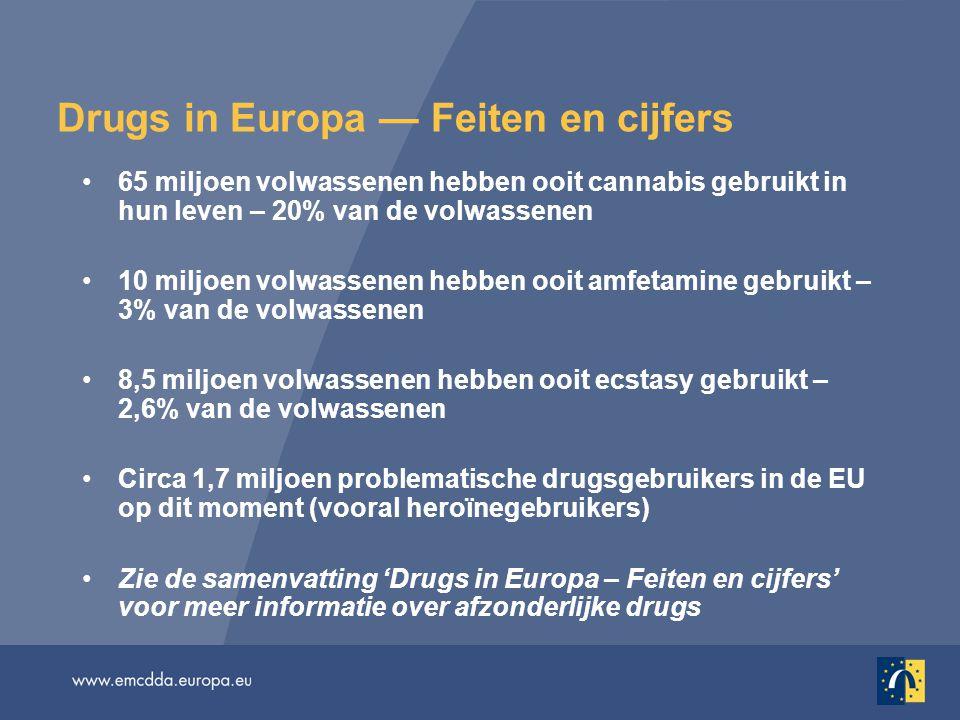 Drugs in Europa — Feiten en cijfers 65 miljoen volwassenen hebben ooit cannabis gebruikt in hun leven – 20% van de volwassenen 10 miljoen volwassenen hebben ooit amfetamine gebruikt – 3% van de volwassenen 8,5 miljoen volwassenen hebben ooit ecstasy gebruikt – 2,6% van de volwassenen Circa 1,7 miljoen problematische drugsgebruikers in de EU op dit moment (vooral heroïnegebruikers) Zie de samenvatting 'Drugs in Europa – Feiten en cijfers' voor meer informatie over afzonderlijke drugs