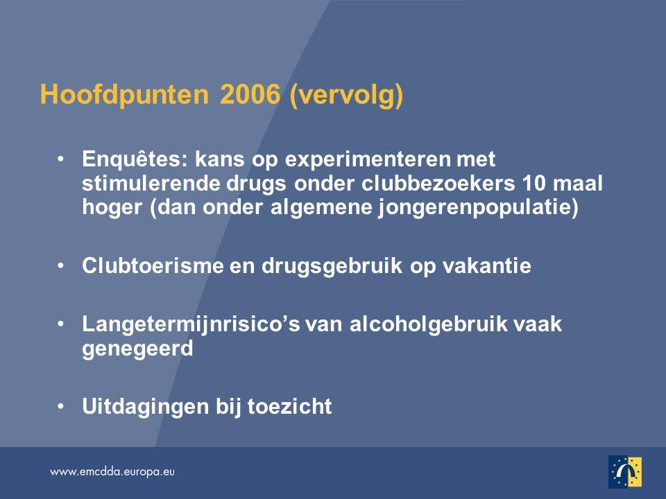 Hoofdpunten 2006 (vervolg) Enquêtes: kans op experimenteren met stimulerende drugs onder clubbezoekers 10 maal hoger (dan onder algemene jongerenpopulatie) Clubtoerisme en drugsgebruik op vakantie Langetermijnrisico's van alcoholgebruik vaak genegeerd Uitdagingen bij toezicht
