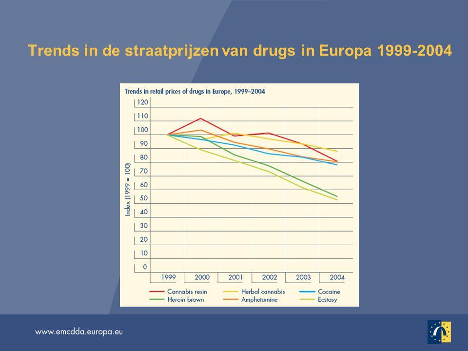 Heroïne — meer vangsten en productie Afghanistan, 's werelds grootste leverancier van illegale opium: naar schatting 89% van de mondiale productie (4 100 ton) in 2005 Recente productiestijgingen betekenen dat het wereldwijde aanbod de wereldwijde vraag nu mogelijkerwijs overtreft (UNODC) In Azië (50%) en Europa (40%) wordt nog steeds de meeste heroïne in beslag genomen De totale hoeveelheid die in Europa in beslag wordt genomen is sinds 1999 gestaag gestegen