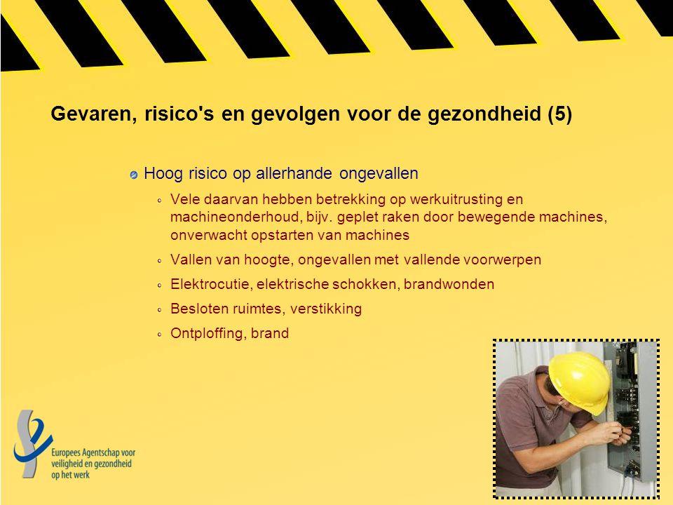 Gevaren, risico's en gevolgen voor de gezondheid (5) Hoog risico op allerhande ongevallen Vele daarvan hebben betrekking op werkuitrusting en machineo