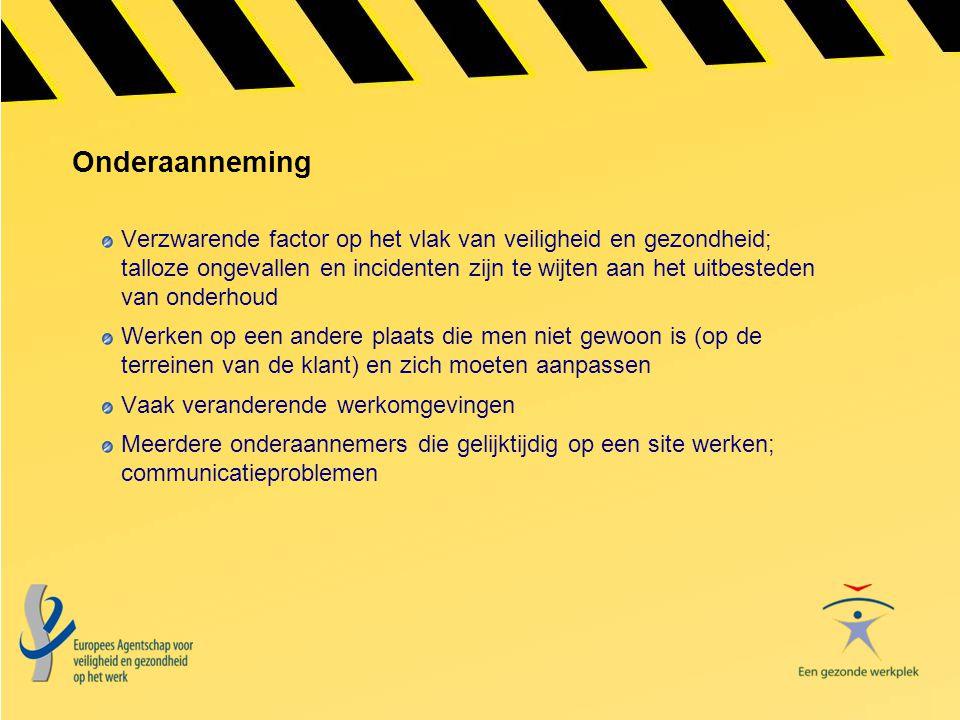 Onderaanneming Verzwarende factor op het vlak van veiligheid en gezondheid; talloze ongevallen en incidenten zijn te wijten aan het uitbesteden van on