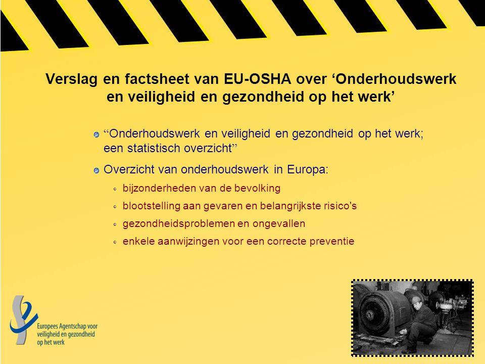 """Verslag en factsheet van EU-OSHA over 'Onderhoudswerk en veiligheid en gezondheid op het werk' """" Onderhoudswerk en veiligheid en gezondheid op het wer"""