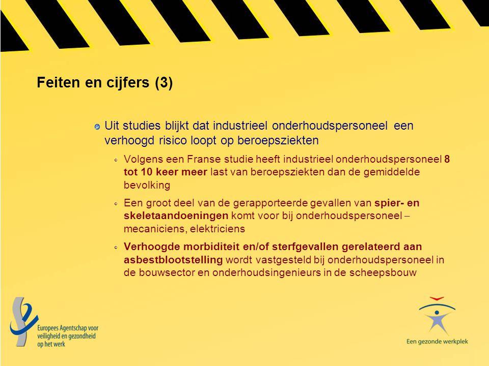 Feiten en cijfers (3) Uit studies blijkt dat industrieel onderhoudspersoneel een verhoogd risico loopt op beroepsziekten Volgens een Franse studie hee