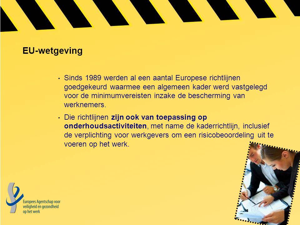 EU-wetgeving Sinds 1989 werden al een aantal Europese richtlijnen goedgekeurd waarmee een algemeen kader werd vastgelegd voor de minimumvereisten inza