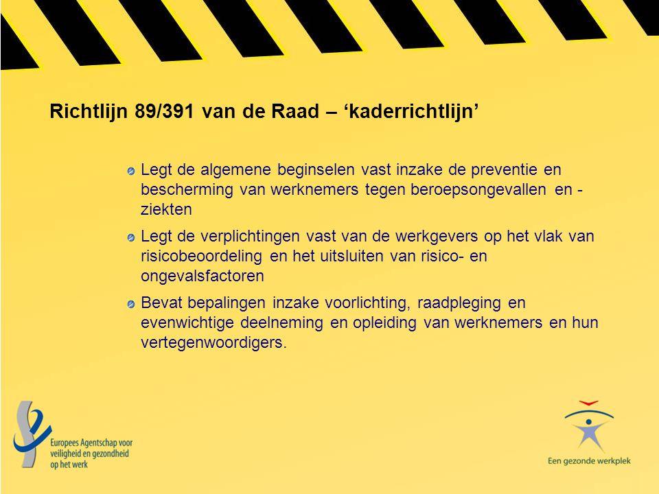 Richtlijn 89/391 van de Raad – 'kaderrichtlijn' Legt de algemene beginselen vast inzake de preventie en bescherming van werknemers tegen beroepsongeva