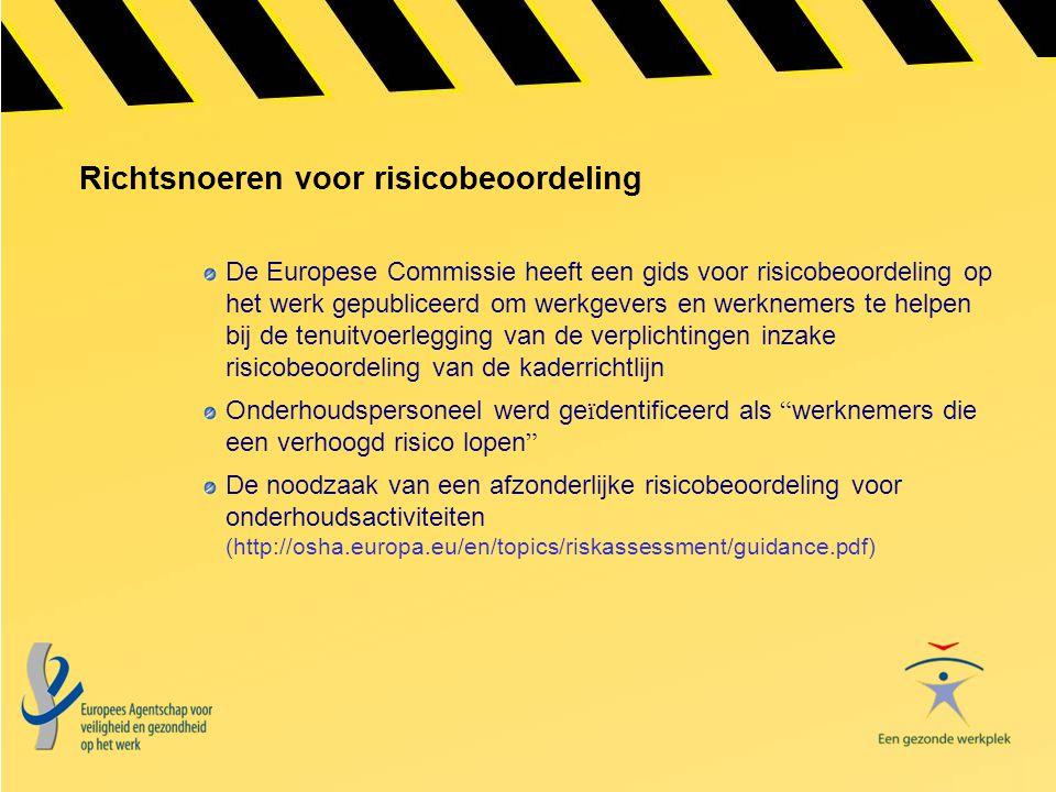 Richtsnoeren voor risicobeoordeling De Europese Commissie heeft een gids voor risicobeoordeling op het werk gepubliceerd om werkgevers en werknemers t