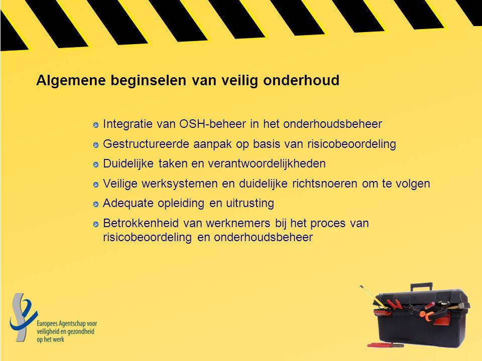 Algemene beginselen van veilig onderhoud Integratie van OSH-beheer in het onderhoudsbeheer Gestructureerde aanpak op basis van risicobeoordeling Duide
