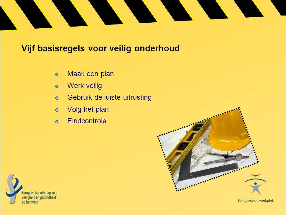 Vijf basisregels voor veilig onderhoud Maak een plan Werk veilig Gebruik de juiste uitrusting Volg het plan Eindcontrole