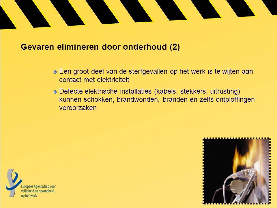 Gevaren elimineren door onderhoud (2) Een groot deel van de sterfgevallen op het werk is te wijten aan contact met elektriciteit Defecte elektrische i