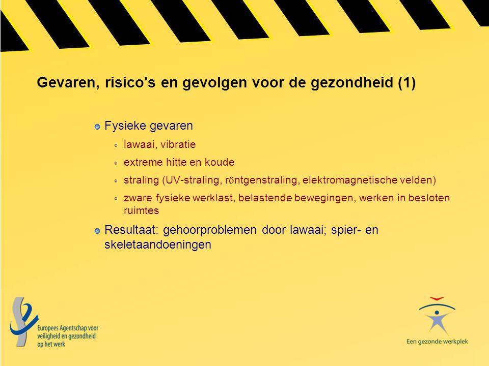 Gevaren, risico's en gevolgen voor de gezondheid (1) Fysieke gevaren lawaai, vibratie extreme hitte en koude straling (UV-straling, r ö ntgenstraling,