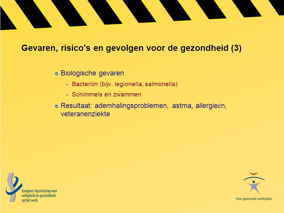 Gevaren, risico's en gevolgen voor de gezondheid (3) Biologische gevaren Bacteri ë n (bijv. legionella, salmonella) Schimmels en zwammen Resultaat: ad