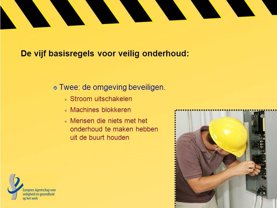 De vijf basisregels voor veilig onderhoud: Twee: de omgeving beveiligen. Stroom uitschakelen Machines blokkeren Mensen die niets met het onderhoud te