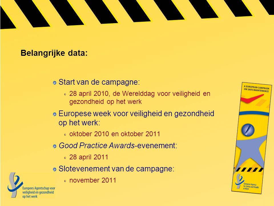 Belangrijke data: Start van de campagne: 28 april 2010, de Werelddag voor veiligheid en gezondheid op het werk Europese week voor veiligheid en gezond