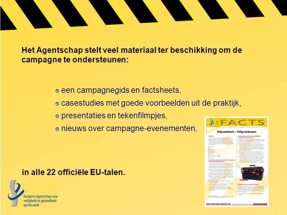 Het Agentschap stelt veel materiaal ter beschikking om de campagne te ondersteunen: een campagnegids en factsheets, casestudies met goede voorbeelden