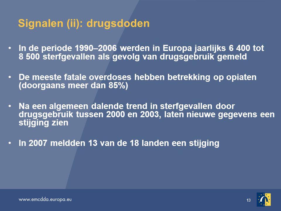 13 Signalen (ii): drugsdoden In de periode 1990–2006 werden in Europa jaarlijks 6 400 tot 8 500 sterfgevallen als gevolg van drugsgebruik gemeld De me