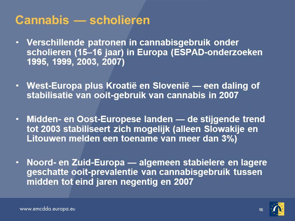 16 Cannabis — scholieren Verschillende patronen in cannabisgebruik onder scholieren (15–16 jaar) in Europa (ESPAD-onderzoeken 1995, 1999, 2003, 2007)