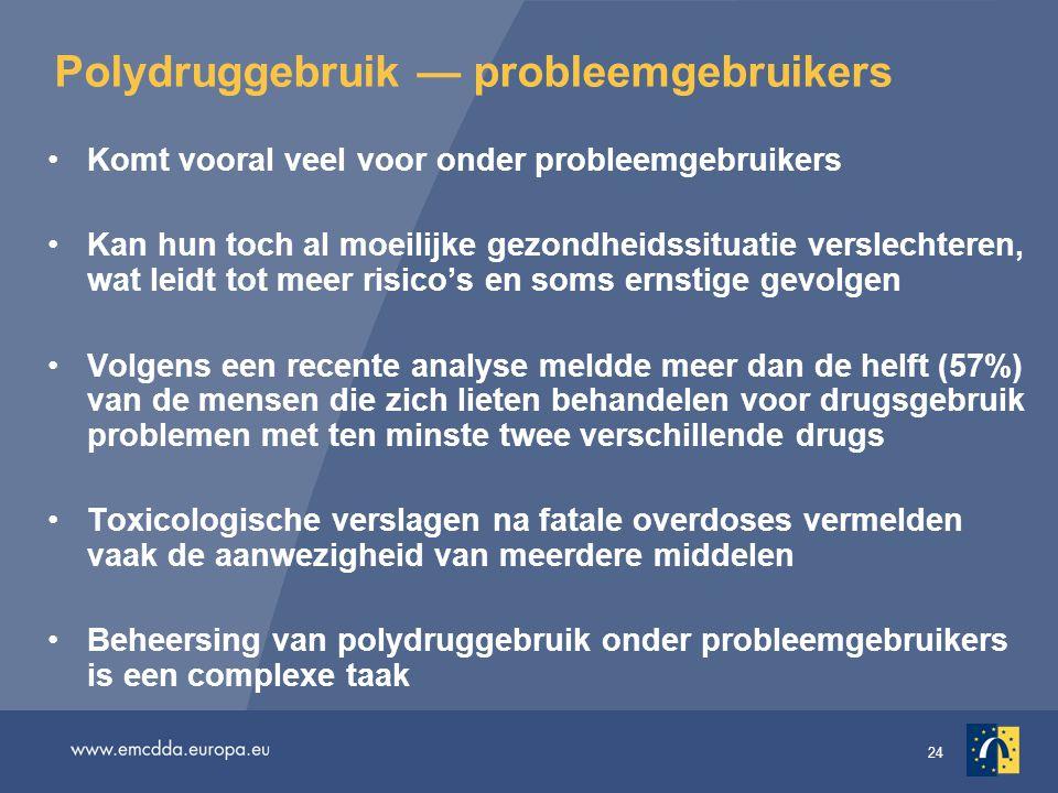 24 Polydruggebruik — probleemgebruikers Komt vooral veel voor onder probleemgebruikers Kan hun toch al moeilijke gezondheidssituatie verslechteren, wa