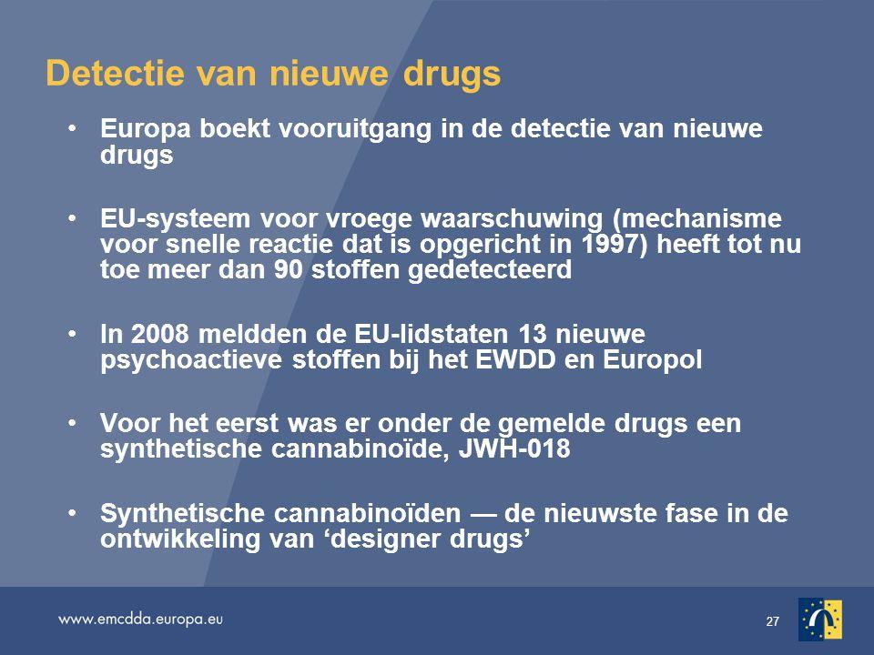27 Detectie van nieuwe drugs Europa boekt vooruitgang in de detectie van nieuwe drugs EU-systeem voor vroege waarschuwing (mechanisme voor snelle reac