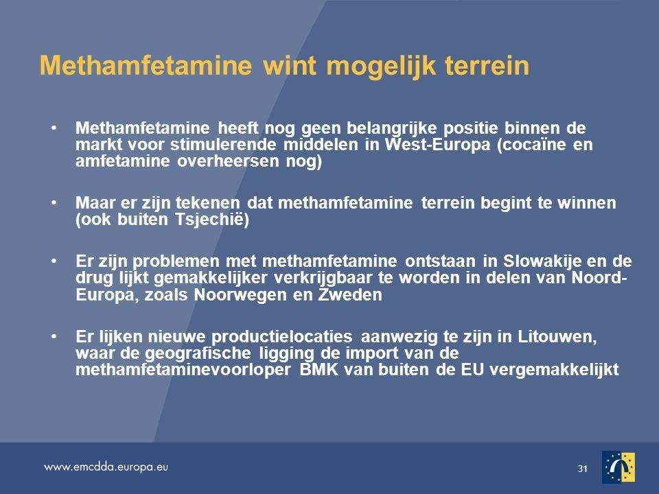 31 Methamfetamine wint mogelijk terrein Methamfetamine heeft nog geen belangrijke positie binnen de markt voor stimulerende middelen in West-Europa (c