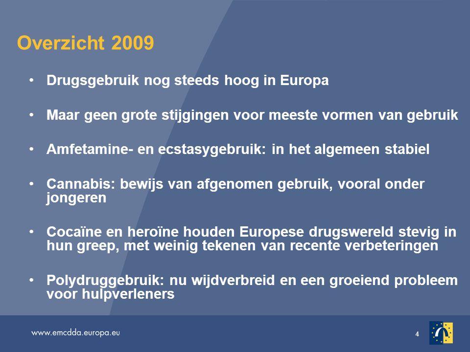 4 Overzicht 2009 Drugsgebruik nog steeds hoog in Europa Maar geen grote stijgingen voor meeste vormen van gebruik Amfetamine- en ecstasygebruik: in he