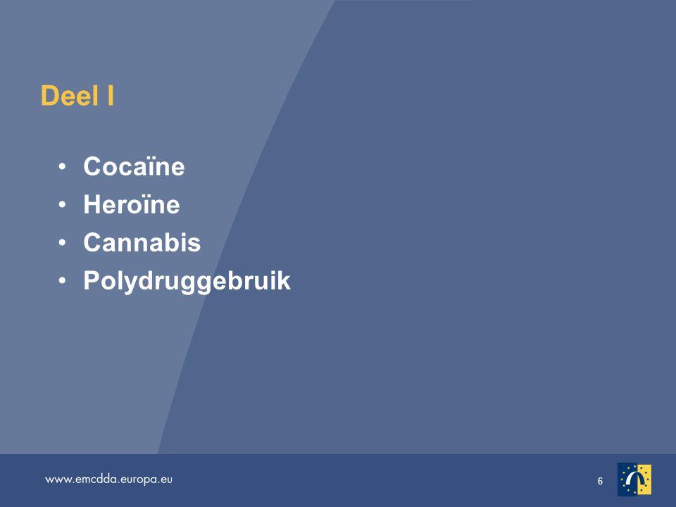 7 Cocaïne, nog steeds het populairste stimulerende middel van Europa Zo'n 13 miljoen Europese volwassenen (15–64 jaar) hebben ooit cocaïne geprobeerd; zo'n 4 miljoen volwassenen hebben het in het afgelopen jaar gebruikt Nog geconcentreerd in het westen van de EU; elders in Europa is het gebruik beperkt De meeste landen melden een stabiele of stijgende trend in het gebruik onder jonge volwassenen in het afgelopen jaar In Denemarken, Spanje, Ierland, Italië en het Verenigd Koninkrijk varieerde de prevalentie (15–34 jaar) vorig jaar van 3,1% tot 5,5% Inbeslagnamen en onderzoeken wekken zorgen over potentiële verdere verspreiding